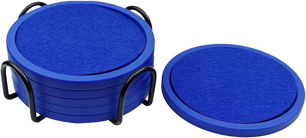 Coasters for Drinks, Set of 6 with Silicone Tray and Absorbent Felt Cup Coasters, Perfect for Bar and House, Suitable for Hot and Cool Beverages in Glasses, Cups, and Mugs (Blue)