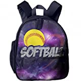 Half Love Softball Funny Kid Lightweight Canvas Travel Backpacks School Book Bag