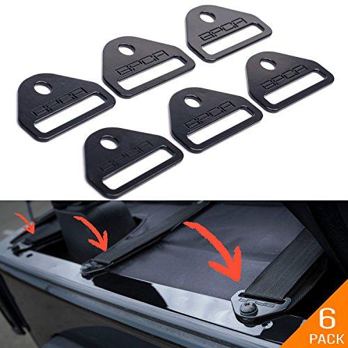 GPCA Tie-Down D-Ring/D-Plate Buckle for Jeep Wrangler JL JK YJ LJ TJ CJ Sport Sahara Rubicon Unlimited 4 Door/ 2DR, (6 Pack Tie-Down D-Plate)