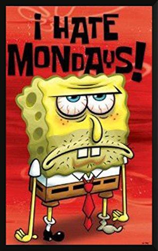 Spongebob Squarepants I Hate Mondays Childrens Animated Cartoon Tv Television Show Print  Framed 24X36 Poster