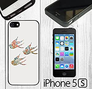 Vintage Floral Birds Custom made Case/Cover/Skin FOR iPhone 5/5s -Black- Rubber Case