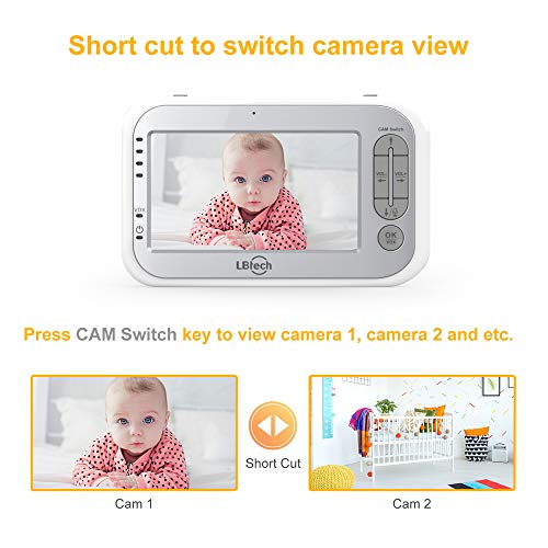 LBtech Video Baby Monitor with Two Cameras and 4.3'' LCD,Auto Night Vision,Two-Way Talkback,Temperature Detection,Power Saving/Vox,Zoom in,Support Multi Camera by LBtech (Image #7)