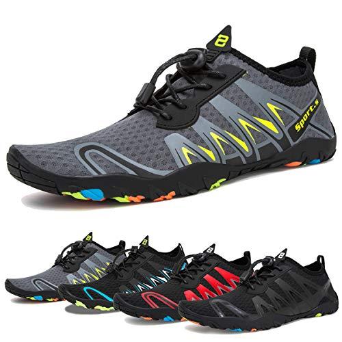 (Water Shoes Mens Womens Beach Swim Shoes Quick-Dry Aqua Socks Pool Shoes for Surf Yoga Water Aerobics (F-Gray/Black, 45))