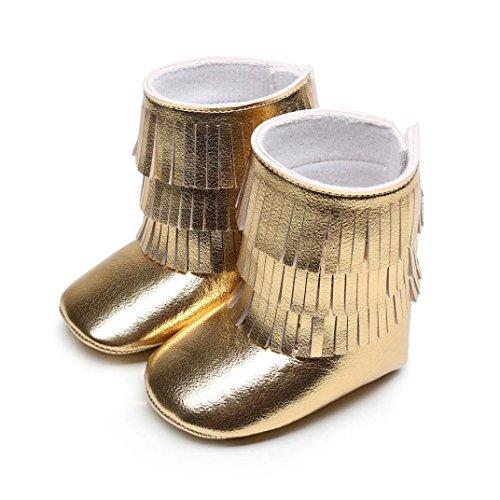 Igemy 1 Paar Winter 3 Schicht Quasten Baby Fringed Stiefel Infant Kleinkind Soft Bottom Stiefel Gold