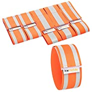 kwmobile 6X Reflective Armbands - High Visibility Outdoor Safety Bands for Jogging Cycling Walking - Neon Refl