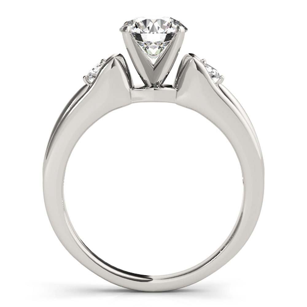 tusakha Petite Three Stone 14K White Gold Plated Round-Cut White CZ Diamond Engagement Wedding Ring