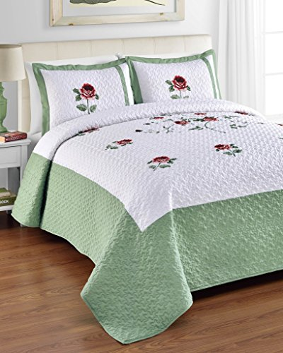 Ella QUEEN Size Bed 3 Piece Quilted Bedspread Set