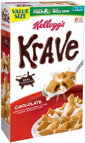 Kellogg's Krave Family Size Cereal, Milk Chocolate, 19.9 Ounce (Pack of 14) by Krave