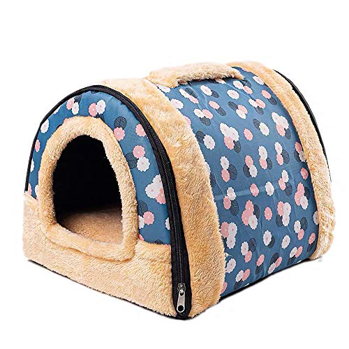 Rabbit Bed Tent Large Sleeping House Warm Fleece Hideout Foldable Cave Winter Hut for Rabbits Chinchillas Guinea Pigs Ferrets Hedgehogs Hamsters Rats and Cats