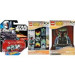 Hot Wheels Boba Fett Star Wars Vehicle Character Collection / Alarm Clock / Car / Watch & Mini Figure the Bounty Hunter set