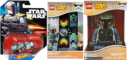 Hot Wheels Boba Fett Star Wars Vehicle Character Collection / Alarm Clock / Car / Watch & Mini Figure the Bounty Hunter (Alarm Collection)