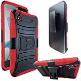 ZTE Quartz Z797C Case, ATUS ZTE Quartz Z797C Armor Series - Heavy Duty Dual Layer Holster Case Kick Stand with Locking Belt Swivel Clip (Free E-Time Brand LCD Screen Protector + Stylus Pen Included) (BLACK/RED)