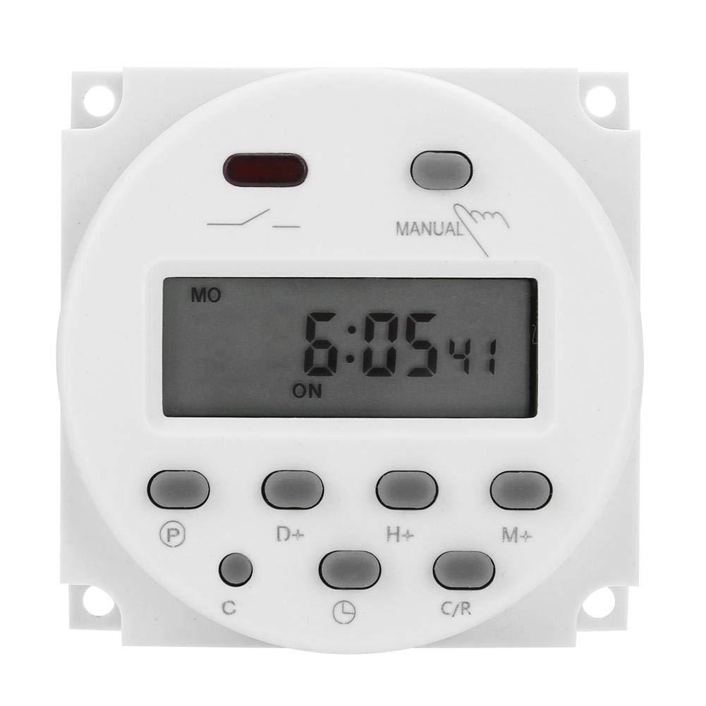 CN101A DC 12V Mini LCD Digital LCD Potencia Programador semanal Interruptor de relé Temporizador Digital Control de Temporizador de Potencia con Tapa Impermeable Blanco