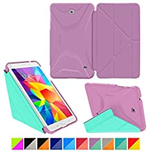 "roocase Samsung Galaxy Tab 4 8.0 Case - Origami 3D [Radiant Orchid / Mint Candy] Slim Shell 8-Inch 8"" Smart Cover with Landscape, Portrait, Typing Stand"