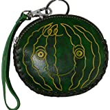 Genuine Leather Coin Purse W/wristlet Strap, Fruit Shape --- Green Watermelon