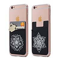 (Two) Mandala cell phone stick on wallet card holder phone pocket for iPhone, Android and all smartphones.