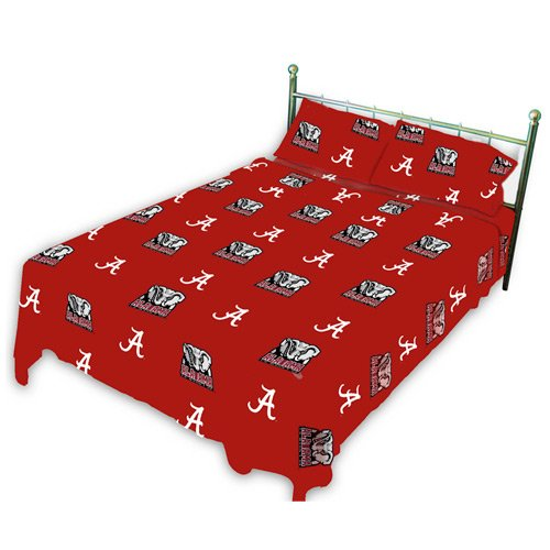 College Covers Alabama Crimson Tide Printed Sheet Set Solid, Queen