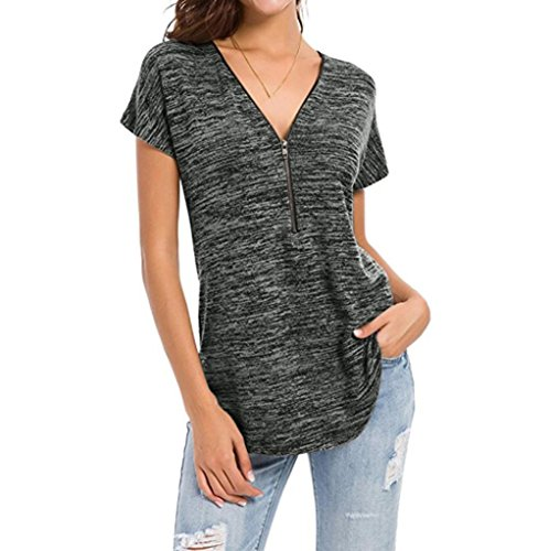 Blouses for Womens, FORUU Loose Fitting Zip up V Neck Tops Tunic Casual T Shirts at Amazon Womens Clothing store: