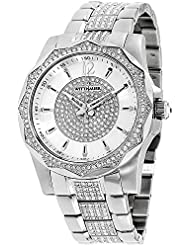 Wittnauer Mens Chevron Crystal Accent Stainless Steel Bracelet Watch