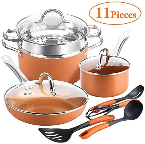 SHINEURI 11 Pieces Copper Pans and Pots Nonstick – 9.5 Inch Fry Pan with Lid, 1.5 qt Saucepan with Lid and 6 qt Stockpot with Lid, Steamer Insert 4 set Cooking Utensils with Induction Bottom