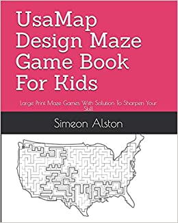 Usamap Design Maze Game Book For Kids Large Print Maze Games With