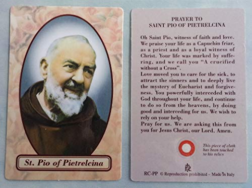 - St. Padre Pio RELIC Prayer Card. FREE SHIPPING!