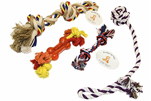 EMG Pet Emporium Rope & Teether Bone Bundle For Active Dogs | Large Double Knot Twister | Teether Bone | Guaranteed | Small Knot Chew Rope | Knotted Ball Puller ()