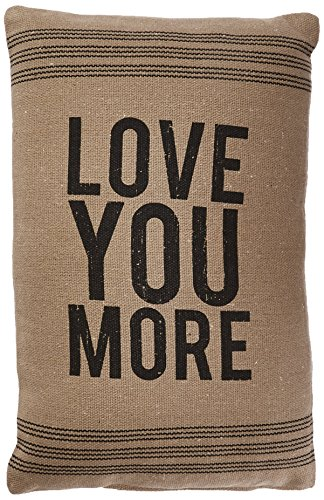 Primitives by Kathy 9-Stripe Love You More Dark Pillow, 15.25-Inch by 10.25-Inch