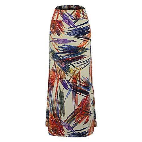 FONMA Women's Casual Line Geometric Printing Bag Hip Fishtail Skirt Long Maxi Skirt Beige