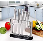 Premium Class Stainless Steel Kitchen 6 Piece Knives Set (5 Knives plus an Acrylic Stand) - by Utopia Kitchen 11 Made from 420 grade stainless steel Includes 8-inch chef knife with 2.5 mm blade thickness; 8-inch bread knife with 2.5 mm blade thickness; 8-inch carving knife with 2.5 mm blade thickness; 5-inch utility knife with 2.5 mm blade thickness; 3.5-inchparing knife with 2 mm blade thickness and an acrylic stand for convenient storing of the knives These knives are a solid one piece stainless steel design so you don't have to worry about handles falling off