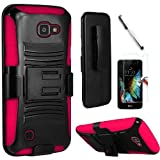 Coolpad Catalyst case, ( Metro PCS, T-Mobile ), Luckiefind Hybrid Armor Stand Case with Holster and Locking Belt Clip, Stylus Pen & Tempered Glass Screen Protector Accessory. (Holster Pink)