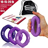 HomeGym 4U Hand Strengthener Grip Rings 10-100lb Multiple Resistance Levels - Forearm Grip Strength - Quickly Increase Your Hand Strength - Finger Exerciser - Best Hand Exerciser Grip Strengthener
