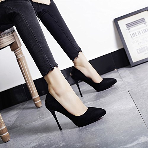 Leisure Shoes Pointed Ladies Shoes Elegant MDRW Heeled Shallow Work High Lady 11Cm Spring 37 Shoes Mouth Black Commuter Waterproof q6PWptWZn