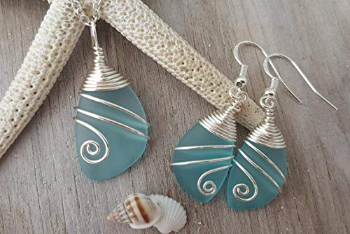 """Handmade wrapped turquoise bay sea necklace earrings jewelry Birthstone"""", sterling Mother's Day"""