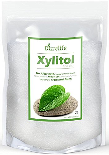 DureLife Birch XYLITOL Sugar Substitute 5 LB Bulk Size (80 OZ) Made From Pure Birch Xylitol In The USA , NON GMO - Gluten Free - Kosher , Packaged In - Granules Xylitol