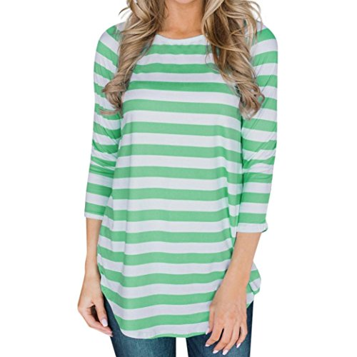 Clearance Deal! Seaintheson 2018 Women New Striped Print Blouse Casual Loose Three Quarter O-Neck T Shirts Tops