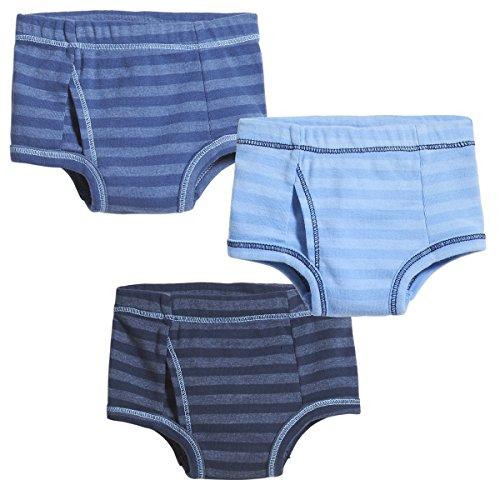 City Threads Boys' Brief Underwear Soft Cotton Perfect For Sensitive Skin Striped 3-Pack, Midnight/Smurf/Lt. Blue, 4T ()