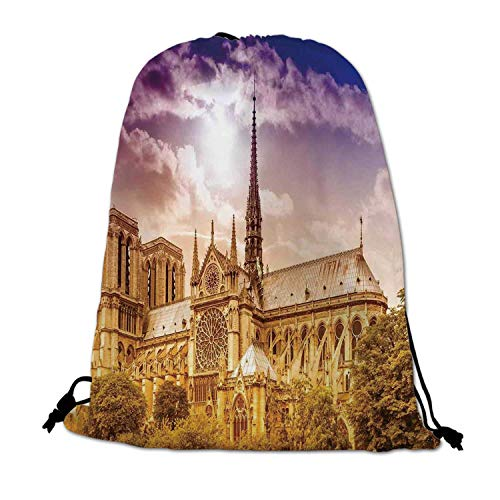(Paris Decor Lightweight Drawstring Bag,Notre Dame Cathedral Paris Parisian Gothic Trees Forest Sunshines Cloudy Sky for Travel Shopping,One_Size)