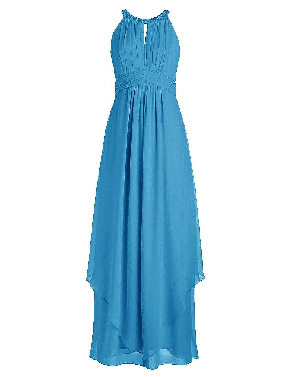 bluee Bridesmaid Dresses Halter Evening Party Dress Long Bridesmaid Gowns Ruffles