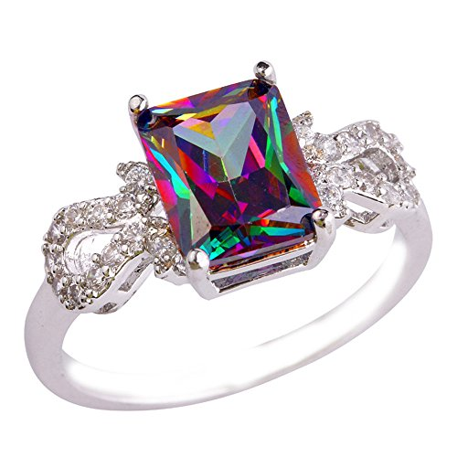 Empsoul 925 Sterling Silver Natural Chic Fiiled Rainbow & White Engagement Ring