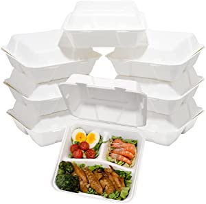 Supernal 100pcs Compostable Food Containers,Meal Prep Containers,8 inch 3 Compartment Food Container with Clamshell Hinged Lid,100% Biodegradable Bagasse Lunch Box,Eco-Friendly Sugar Cane Fibers