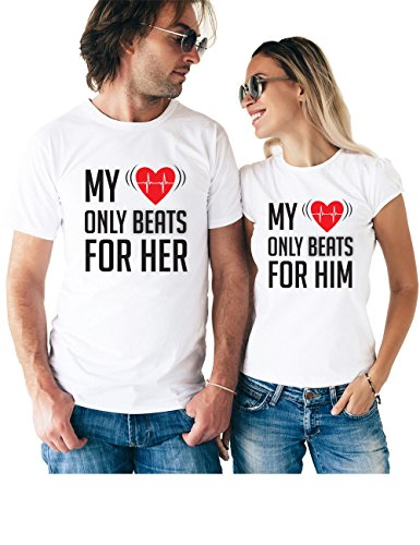 My Heart Only Beats for Him & Her Matching Couple T Shirts - His and Hers Custom Shirts - Couples Outfits for Him and Her for $<!--$26.95-->