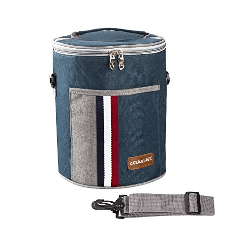 Round Cooler Insulated Bag/Handbag/Cooler Bag/Tote Bag/Insulated Lunch Bag for Office / School / Picnic, With Detachable Shoulder Strap