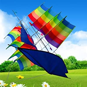 3d Stereo Sailboat Kite Good Flying Designed With Fashion Pattern, It Is Beautiful And Classic Folding, Carry Bag Packaging A Long Strip Style