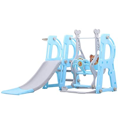 Climber and Swing Set for Kids, 3 in 1 Climber Slide Playset with Basketball Hoop, Swing and Plastic Play Slide Climbing for Kids Ages 2 and up (Blue): Garden & Outdoor