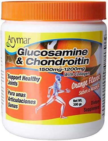 Arymar Glucosamine & Chondroitin Powder 1500mg-1200mg with Collagen Orange Flavor Support Healthy Joints, Orange, Orange, 300 Gram, X-Large
