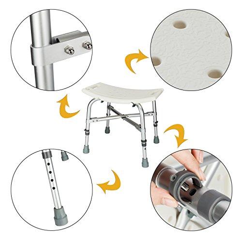 Mefeir Medical Shower Chair Bath Stool Transfer Bench Seat,Heavy Duty 450LBS Upgrade Framework SPA Bathtub Chair,No-Slip Adjustable 6 Height (Normal) by Mefeir (Image #4)