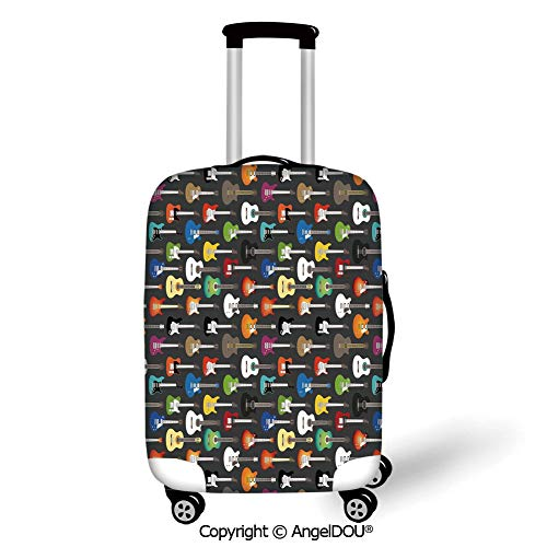 (AngelDOU Trolley Trunk Dust Case Cover Travel Accessories Guitar Grunge Instruments Strings Creativity Writing Songs Digital Classic Acoustic Music Multicolor Elastic Luggage Dust Cover.)