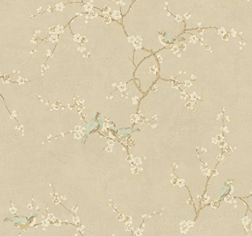 - York Wallcoverings Metallic II Birds W/Blossoms Removable Wallpaper, Metallics