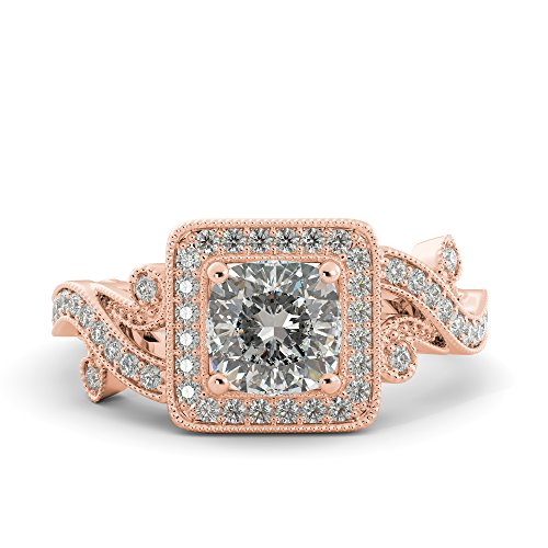(1.88 ct Charles & Colvard Forever One Moissanite Cushion Cut & Round Cut Diamond Engagement Vintage Antique Look Unique Ring 14k White Rose Yellow Gold)